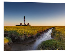 Stampa su PVC  Lighthouse Westerhever in the evening light - Heiko Mundel