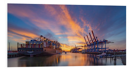 Stampa su PVC  Sunset at the container terminal Hamburg Waltershof - Heiko Mundel