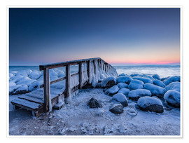 Poster  Jetty on the icy Baltic Sea near Travemünde - Heiko Mundel