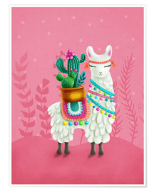 Poster Premium Illustration of a cute llama