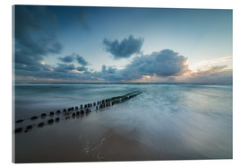 Stampa su vetro acrilico  Groyne in the evening on Sylt (long exposure) - Heiko Mundel