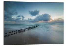 Stampa su alluminio  Groyne in the evening on Sylt (long exposure) - Heiko Mundel