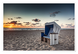 Poster Premium Beach chair on Sylt at sunset