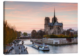 Stampa su tela  Sunset over Notre Dame, Paris - Matteo Colombo