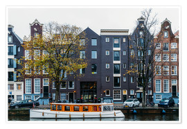 Poster  Dutch Houses Architecture Along Amsterdam Water Canal - Radu Bercan