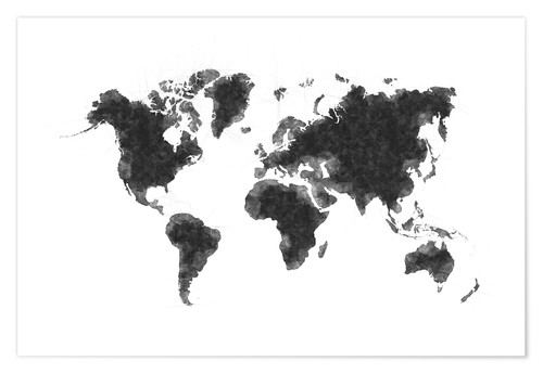 Poster Premium Map Of The World Sketch