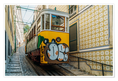 Poster Premium Vintage Tram Ride In Lisbon City