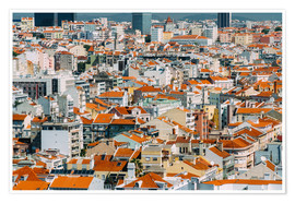 Poster  Lisbon City Rooftops In Portugal - Radu Bercan