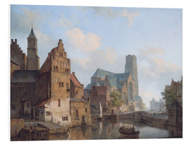 Stampa su schiuma dura  Delftse Vaart and the St Laurens church in Rotterdam, by Cornelis Springer - Cornelius Springer