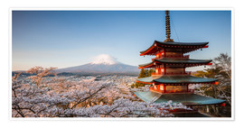 Poster Premium  Pagoda and Mt. Fuji with cherry blossom, Japan - Matteo Colombo